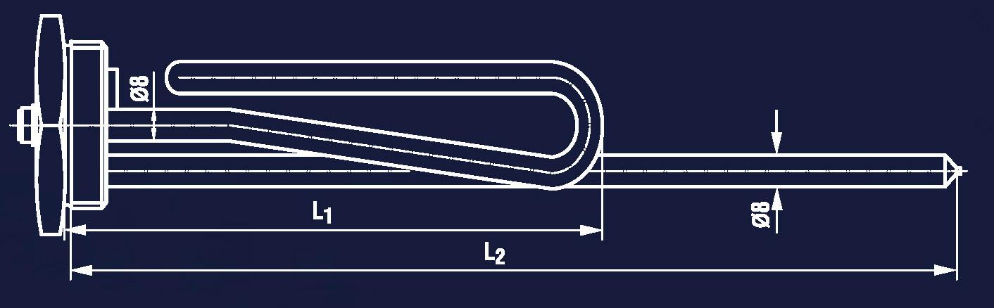 Rysunek grzałki standardowej RT i TF