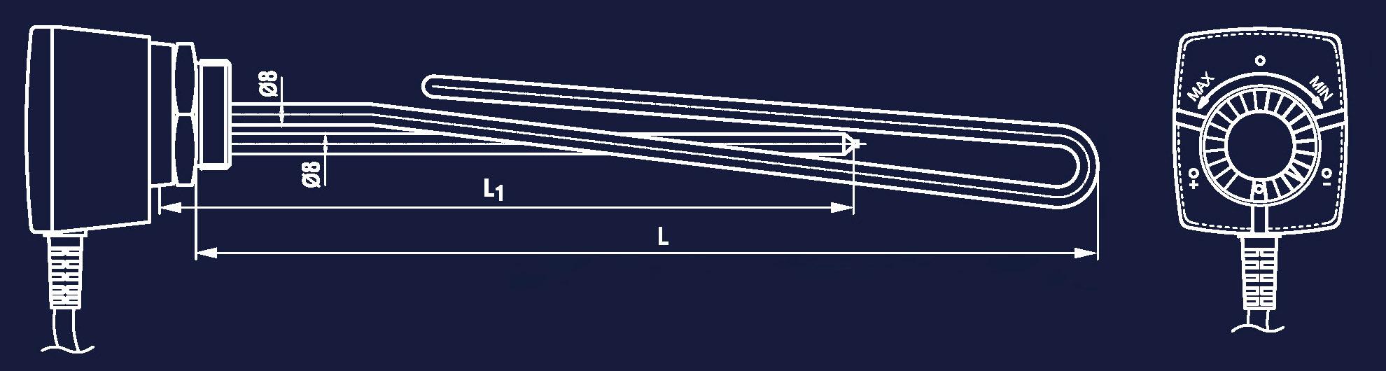 Rysunek grzałki z termoregulatorem 230V 400V WUG MB