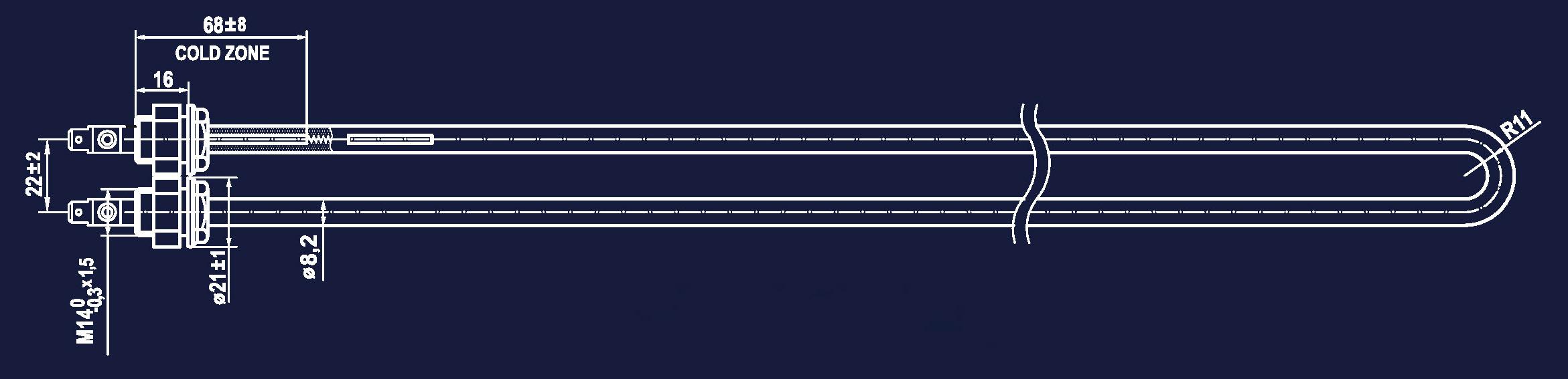 Rysunek Stalowe Elementy Grzejne SNOP WUG MB