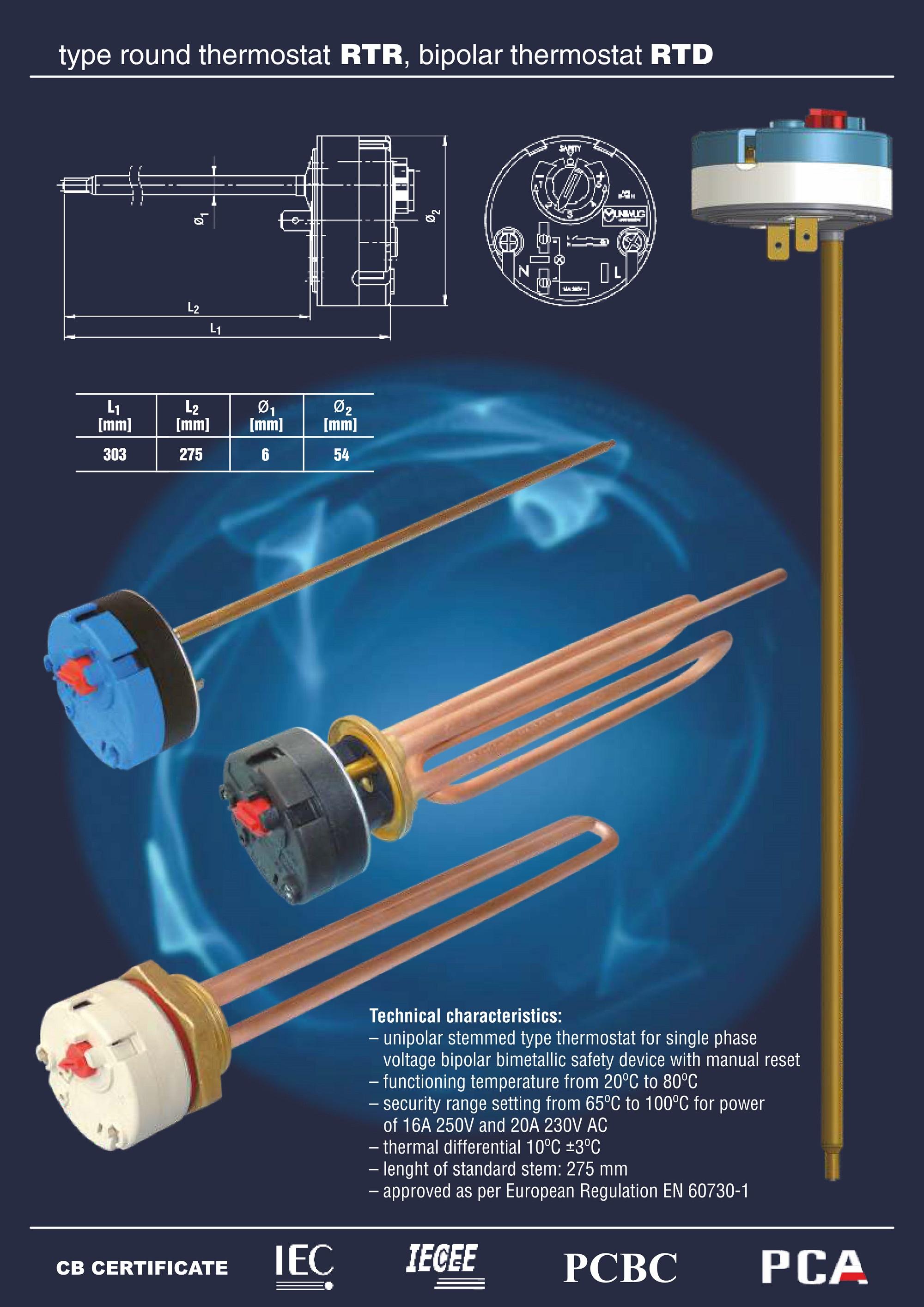 Strona katalogowa termostatów z oferty firmy WUG MB