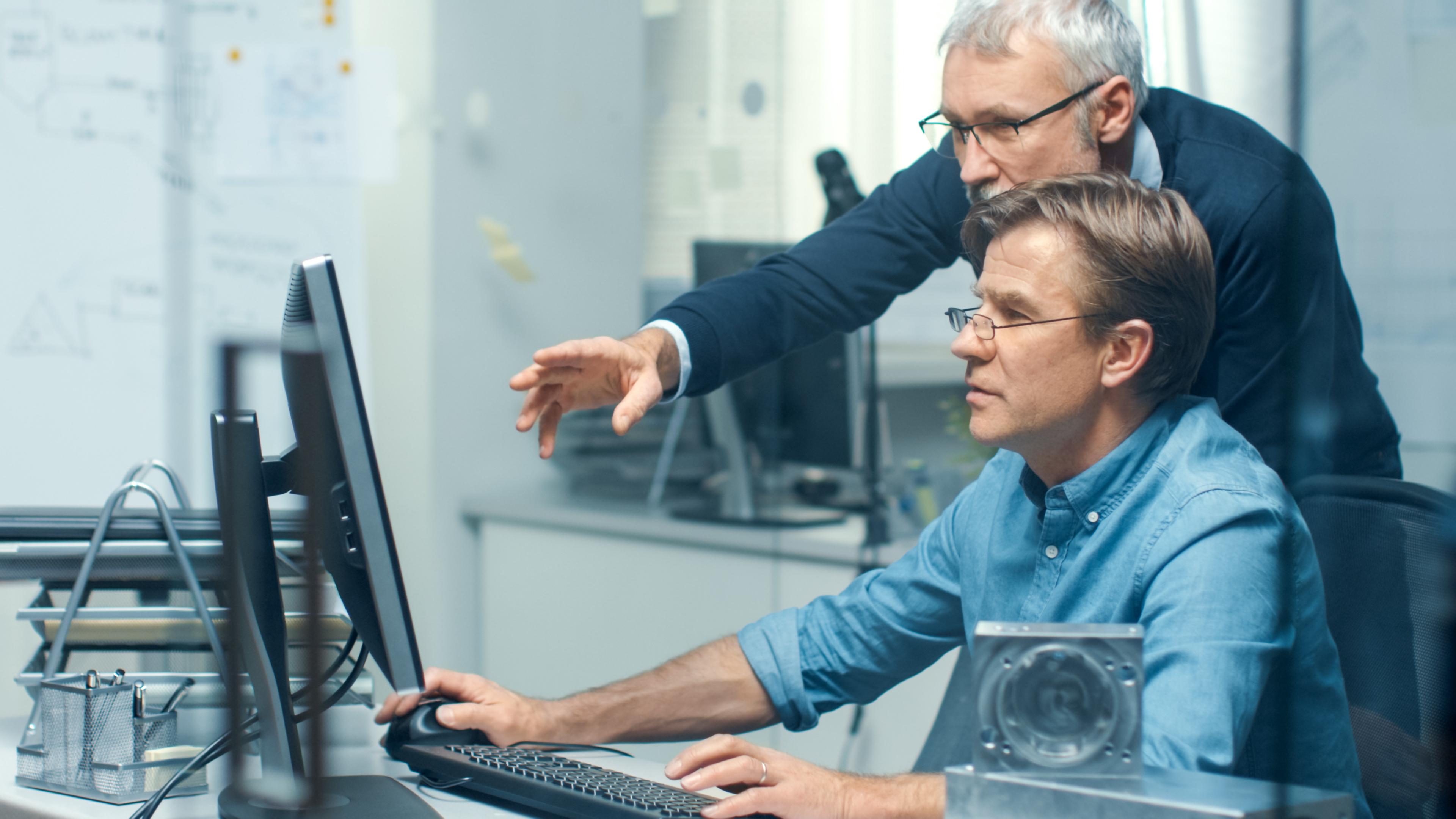 Pracownicy przy komputerze