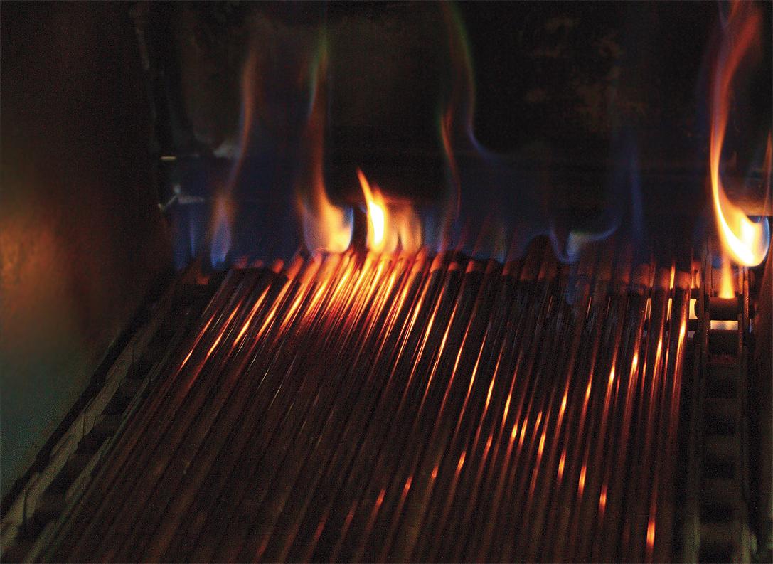 Płomienie proces produkcji grzałek